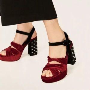 Zara Basic Red Velvet Stud Platform Chunky Heels 7